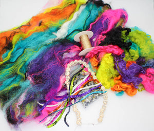 Sugar Skull art yarn fiber kit (batt, locks, beads, and extras)