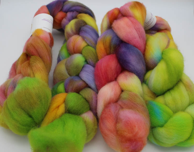 Falkland wool top: Rainbow Sherbert