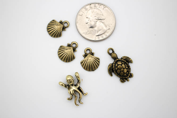 Charms Pack: Sealife - Antique Gold