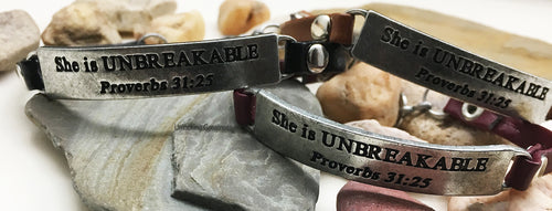 Unlocking Greatness® She is Unbreakable Bracelet +Unbreakable Card
