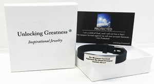 Unlocking Greatness® No Weapon Formed Bracelet +Protected Card
