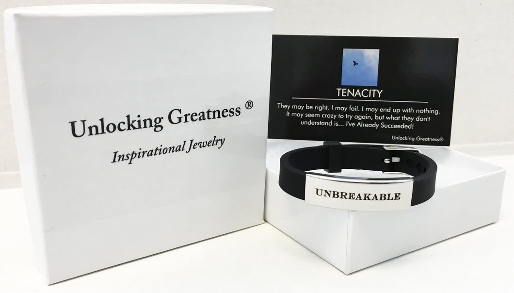 Unlocking Greatness® Unbreakable Bracelet +Tenacity Card