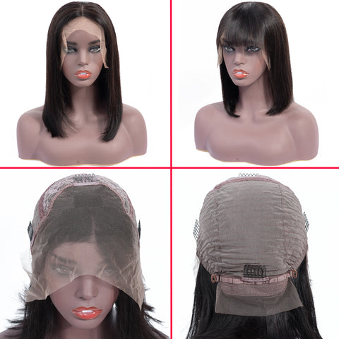 Bestsojoy Peruvian Straight Lace Frontal Bob Wigs With Bangs For Black Women 13x4 Short Lace Frontal Wig Human Hair Remy