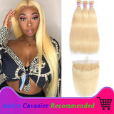 Andre Cavasier Recommended  613 Blonde 3 Bundles With Frontal Straight Hair With Frontal Virgin Blonde Human Hair Lace Frontal Closure With Bundle