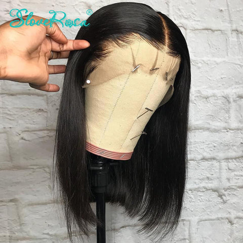 Rosabeauty Brazilian 13x6 Short Bob Virgin Straight Lace Front Human Hair Wigs Natural Color 360 Lace Frontal Wig For Black Women