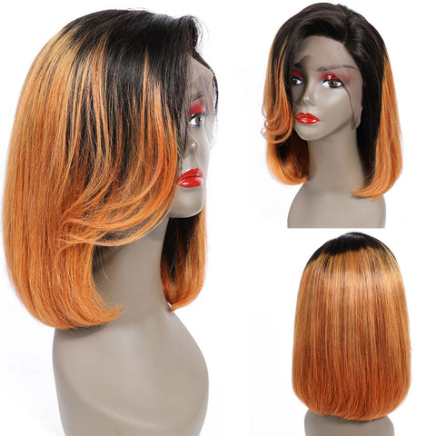 Bestsojoy 10A Ombre Straight Bob Lace Frontal Human Hair Wigs 1b/30 Straight Lace Frontal Wig Virgin Hair Lace Frontal Wig