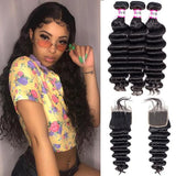 Bestsojoy 10A Brazilian Loose Deep Wave 3 Bundles With Closure Soft Brazilian Human Hair With Closure
