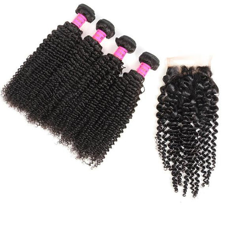 Bestsojoy Brazilian Virgin Hair Deep Curly 4 Bundles With Closure Brazilian Human Curly Hair With Closure