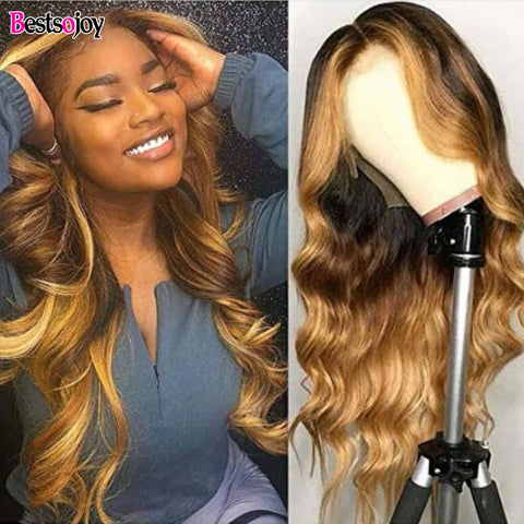 Bestsojoy Honey Blonde Highlight Full Lace Front Wigs 13x4 Body Wave Ombre Colored Human Hair Wigs For Women Remy Hair