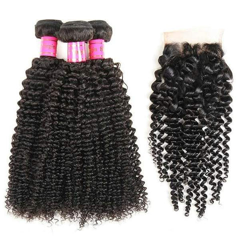 Bestsojoy 10A Peruvian Deep Curly 3 Bundles With Closure Remy Human Hair Bundles With Closure Peruvian Hair Bundles With Closure