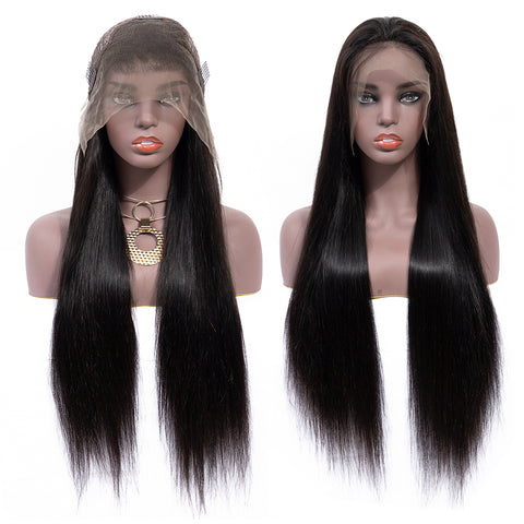 Bestsojoy Straight Lace Front Human Hair Wigs 13*4 Lace Frontal Virgin Hair Wigs Full End Natural Color