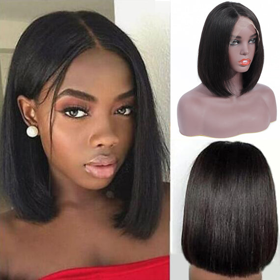 Bestsojoy Brazilian Straight Lace Frontal Human Hair Bob Wigs Short Human Hair Lace Wigs Natural Hairline With Bangs 13*4 Lace Frontal Wig Natural Color
