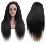 Bestsojoy 10A Grade Kinky Straight Human Hair Wigs 13*4 Lace Frontal Yaki Straight Density 150% Virgin Hair Wigs Full End Natural Color