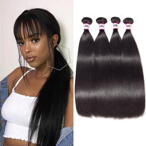 Malaysian Virgin Straight Hair 4 Bundles Soft And Thick Malaysian Straight Human Hair Weave Bundles