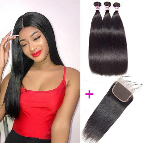 Bestsojoy 10A Brazilian Straight Virgin Hair 3 Bundles With Closure Full And Soft Brazilian Human Hair With Closure