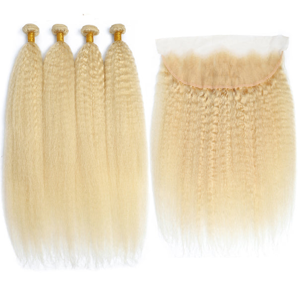 Bestsojoy New Arrival Peruvian 613 Blonde Kinky Straight Hair Bundles With Frontal Closure Blonde Kinky Straight Human Hair 4 Bundles With 13*4 Lace Frontal Closure