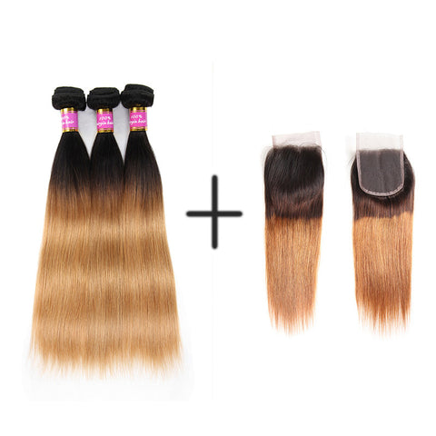 Bestsojoy 1b 27 Ombre Peruvian Straight Hair 3 Bundles With Closure Ombre Peruvian Hair Wave Bundles