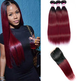 Bestsojoy 1b 99j Ombre Malaysian Straight 3 Bundles With Closure Ombre Malaysian  Hair Wave Bundles