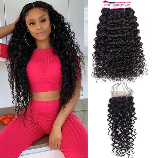 Bestsojoy 10A Peruvian Water Wave 3 Bundles With Closure Soft Peruvian Human Hair With Closure
