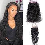 Bestsojoy 10A Brazilian Water Wave 3 Bundles With Closure Soft Brazilian Human Hair With Closure