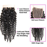Bestsojoy 10A Peruvian Kinky Curly 3 Bundles With Closure Soft Peruvian Human Hair With Closure