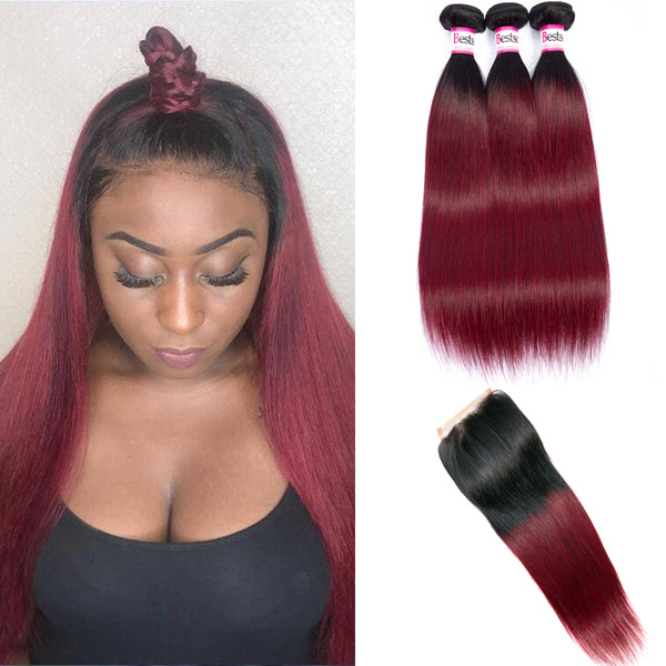 Bestsojoy 1b 99j Ombre Peruvian Straight 3 Bundles With Closure Ombre Peruvian Hair Wave Bundles