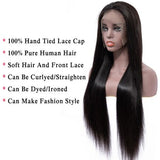 Bestsojoy Brazilian Straight Lace Frontal Human Hair Wigs Density 180% Full End Remy Hair PrePlucked Wig For Black Women