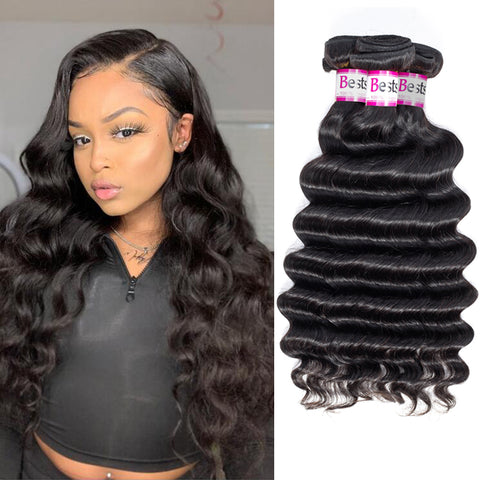 Bestsojoy 10A Peruvian Loose Deep 4 Bundles Peruvian Loose Deep Wave 100% Human Hair Bundles Top Human Hair Extensions