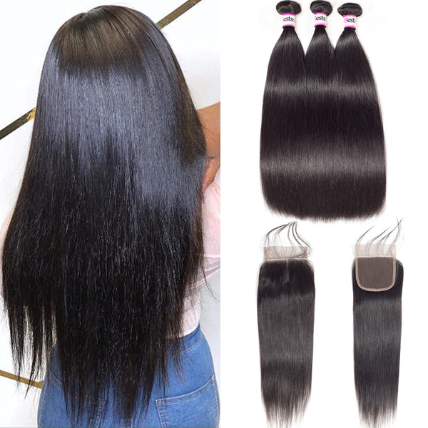 Bestsojoy 10A Malaysian Straight Hair 3 Bundles With Closure Soft Malaysian Human Hair With Closure