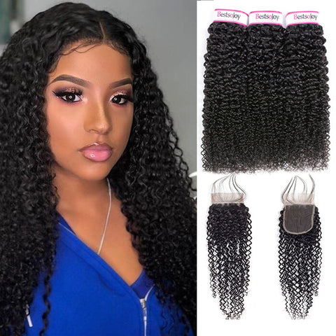 d1fded2ff Bestsojoy 10A Peruvian Kinky Curly 3 Bundles With Closure Soft Peruvian  Human Hair With Closure