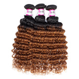 Bestsojoy 1b 30 Ombre Peruvian Virgin Hair Deep Wave 3 Bundle Deals Ombre Peruvian Human Hair Wave Bundles