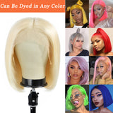 Andre Cavasier Recommended Blonde Straight Virgin Hair Bob Wigs 13x4 Lace Frontal Bob Wigs #613 Human Hair Bob Wigs With Bangs