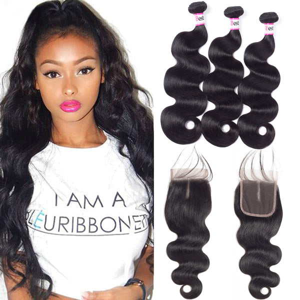 Bestsojoy 10A Malaysian Body Wave 3 Bundles With Closure Soft Malaysian Human Hair With Closure