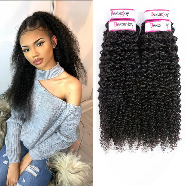 Bestsojoy 10A Brazilian Virgin Hair Kinky Curly 4 Bundles 100% Unprocessed Brazilian Kinky Curly Human Hair Weave Bundles
