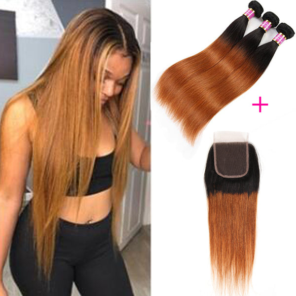 Bestsojoy 1b 30 Ombre Peruvian Straight 3 Bundles With Closure Ombre Peruvian Hair Wave Bundles