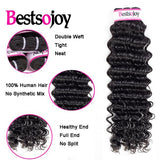 Bestsojoy 10A Peruvian Deep Wave 3 Bundles With Closure Soft Peruvian Human Hair With Closure