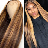 Bestsojoy 13x4 Lace Front Human Hair Wig Straight Highlight Honey Blonde Brown 180% density Lace Frontal Wig Pre Plucked Remy For Women