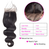 Brazilian Virgin Hair Body Wave 4*4 Lace Closure With Baby Hair