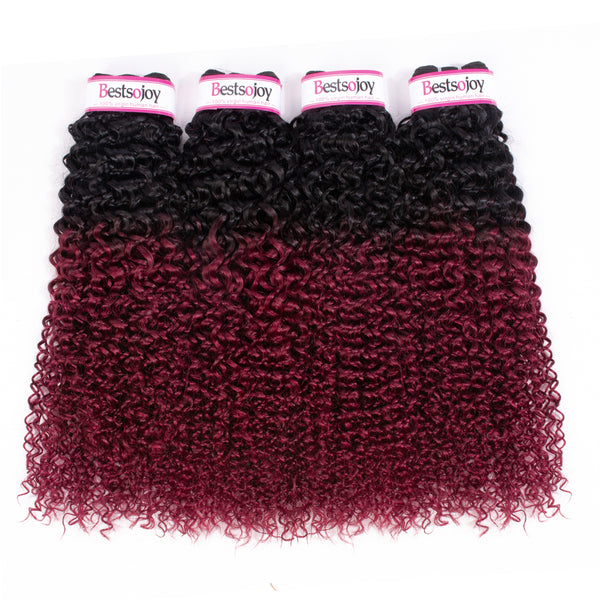 Bestsojoy 1b 99j Ombre Peruvian Kinky Curly 4 Bundles Ombre Peruvian Virgin Hair Curly Hair Wave Bundles
