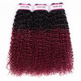 Bestsojoy Ombre Brazilian Kinky Curly 4 Bundles Ombre 1b/99 j Brazilian Virgin Hair Curly Hair Wave Bundles
