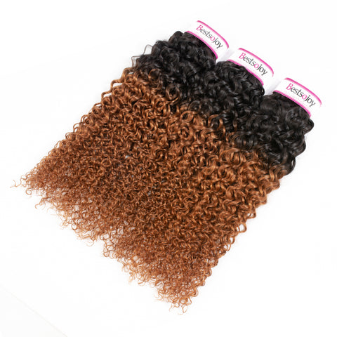 Bestsojoy 1b 30 Ombre Brazilian Virgin Hair Kinky Curly 3 Bundles Ombre Brazilian Human Hair Wave Bundles