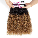 Bestsojoy 1b 27 Ombre Peruvian Virgin Hair Kinky Curly 3 Bundles Ombre Peruvian Human Hair Wave Bundles