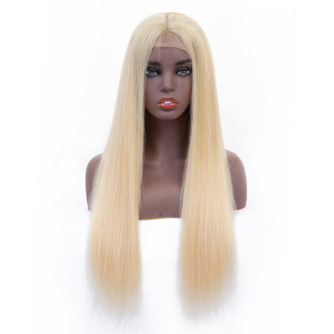 Bestsojoy 613 Blonde Peruvian Remy Human Hair Lace Frontal Wigs Density 130% Straight 613 Golden Blonde Lace Frontal Wig