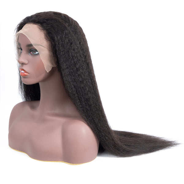 Bestsojoy Kinky Straight Lace Front Human Hair Wigs Density 180% Ear to Ear Lace Frontal Wig For Black Women Natural Color