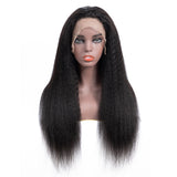 Bestsojoy 10A Grade Kinky Straight Human Hair Wigs 13*4 Lace Frontal Yaki Straight Virgin Hair Wigs Natural Color
