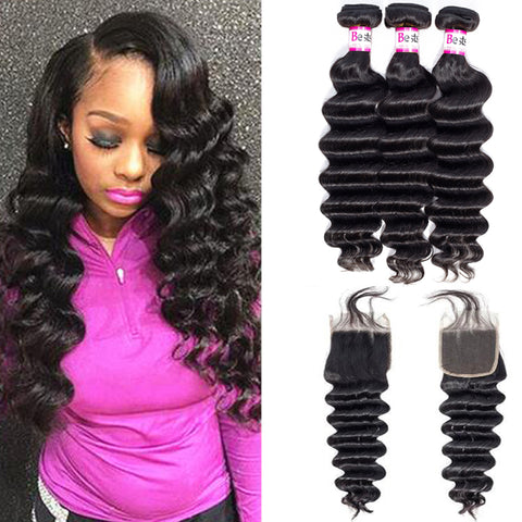 Bestsojoy Peruvian Virgin Hair Loose Deep 3 Bundles With 4*4 Lace Closure Peruvian Loose Deep Wave Human Hair Extensions