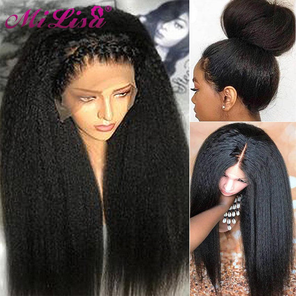 Malaysian Kinky Straight Wig Glueless Lace Front Human Hair Wigs for Black Women Coarse Yaki Straight Wigs Virgin Hair Mi Lisa 150 Density