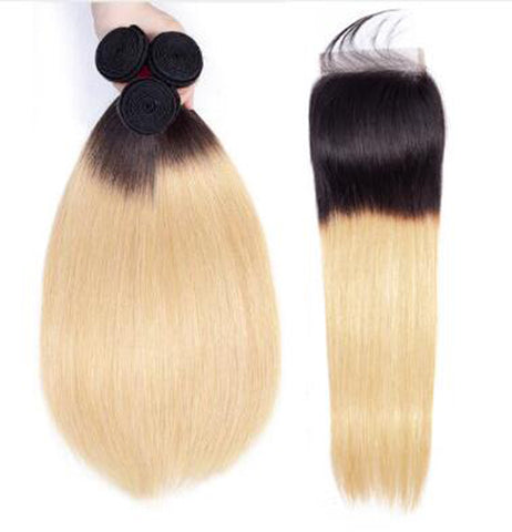 Bestsojoy 1b 27 Ombre Brazilian Straight 3 Bundles With Closure Ombre Brazilian Hair Wave Bundles