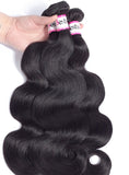 Malaysian Body Wave 4 Bundles With Lace Closure Human Virgin Hair Extension