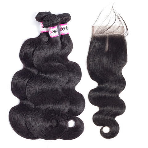 Bestsojoy Brazilian Virgin Hair Body Wave 3 Bundles With Closure Top Brazilian Human Hair With Lace Closure